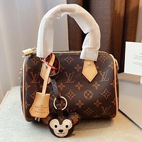 LV Original Presbyopia Pillow Bag Classic Mini Top Discoloration Leather Coffee