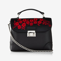 floral embroidery top handle cross body bag