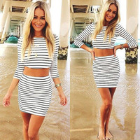 White And Black Striped Casual Women Summer Dress Summer Style Two Pieces Sexy Three Quarter Sleeves Sheath Dress