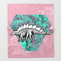 Stegosaur Fossil Throw Blanket by Chobopop