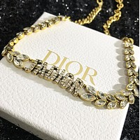 DIOR Fashionable Woman Delicate Grain Crystal Necklace Accessories Jewelry