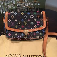 Authentic Louis Vuitton Multicolor Sologne Shoulder Bag Black