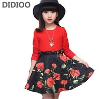 Child Floral Dresses for Girls Casual Dress Kids Formal Clothes Children Infant V-neck Dress Baby Petal Dress