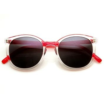 Retro Hipster Two Tone P3 Colorful Round Frosted Sunglasses 8990