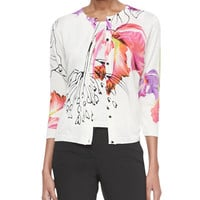 3/4-Sleeve Watercolor Floral Cardigan, Sleeveless Floral-Print Shell & Five-Pocket Slim-Fit Jeans