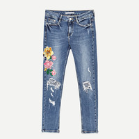 CROPPED EMBROIDERED JEANS - View All-JEANS-WOMAN | ZARA United States