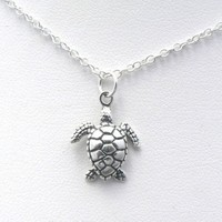 Sea Turtle Sculptural Sterling Silver Charm Necklace Ocean Nautical Marine Life Jewelry (16 Inches)