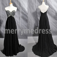 Bead Black Sweetheart Strapless Empired Long Celebrity Dress, Floor length Chiffon Formal Evening Party Prom Dress New Homecoming Dress