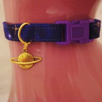 Cat Collar -  Purple and Gold Twilight with a Gold Planet Charm - Safety Release collar with Charm for your Special Kitty