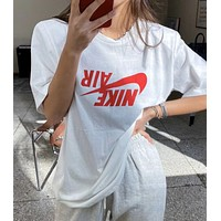 Nike printed reverse hook logo round neck half-sleeved T-shirt