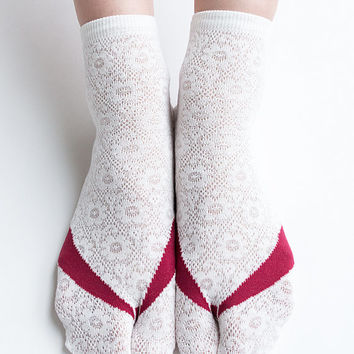 Women New Hezwagarcia Must Have Japan Edition High Quality Tabby Split Toe Cotton Socks Floral Pattern