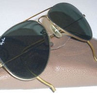 Cheap VINTAGE B&L BAUSCH & LOMB RAY BAN G15 UV GLASS LENS GOLD AVIATOR SUNGLASSES outlet