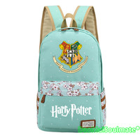 Cartoon Harry Potter Girls School Bags Women Flower Canvas Bags Student Laptop Backpacks Anime Rucksack Schoolbag Woman Backpack