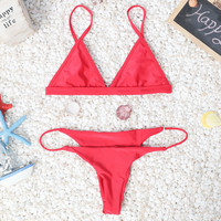 Red Bikini Set Womens Swimsuit  + Free Gift Necklace