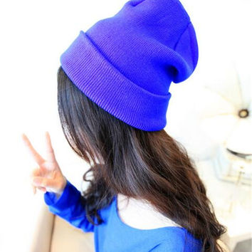 Ladies Candy Colour Knitted Beanie