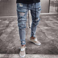 Mens Skinny Stretch Denim Pants Distressed Ripped Freyed Slim Fit Jeans Trousers Skinny Stretch Denim Pants
