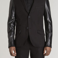 Skinny C.Twill Blazer with Perforated PU Sleeves