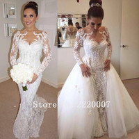 Elegant Scalloped Bridal Gowns Robe De Mariage Chiffon Appliques Bride Dress Lace Long Sleeves Mermaid Backless Wedding Dresses