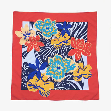 OROTON!!! Vintage 1980s 'Oroton' bright, abstracted floral print square scarf with wide red border