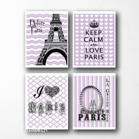 African Violet Digital Art Print set Eiffel tower Wall decor Girls bedroom decor Keep calm Poster I love Paris art French ferris wheel print