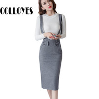 pencil skirt with suspenders women bow black gray skirts sexy office lady high waist solid fashion slim OL knitted skirt