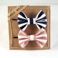Navy and Pink Stripes   Hair bows  Set of Two Bobby Pins by Fr33na