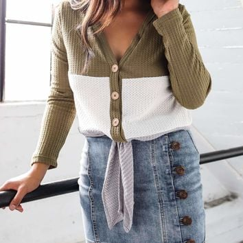Big Stripe Light Knit Cardigan Sweater in Green