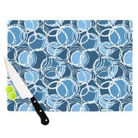 "Julia Grifol ""Simple Circles in Blue"" Cutting Board"
