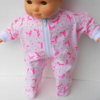 """American Girl Bitty Baby Clothes 15"""" Doll Clothes Girl Pink Daisy Bow Zip Up Flannel Pajamas Pjs Sleeper Fall Winter"""