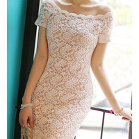 Sexy Boat Neck Off-The-Shoulder Short Sleeve Women's Lace Dress