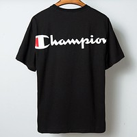 Champion New fashion letter print couple top t-shirt Black