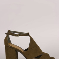 Bamboo Suede Cutout Ankle Strap Chunky Mule Heel