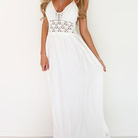 Halter Backless Lace Insert Maxi Dress -SheIn(Sheinside)