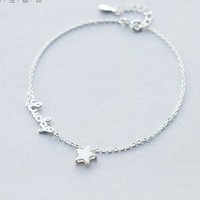 Lovely Cute Real. 925 Sterling Silver Script Lucky &Star chain Anklet bracelet sterling-silver-jewelry adjustable GTLS251