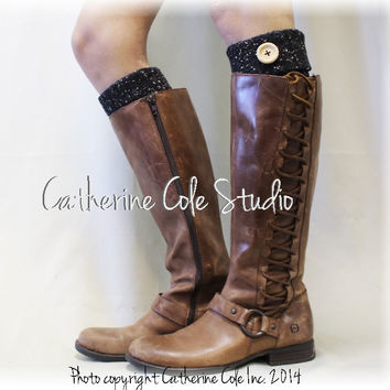 boot cuffs, Aspen, boot cuff socks, toppers, lace, leg warmers, knit, black flecks | BC1