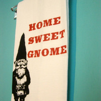 Kitchen Towel  Home Sweet Gnome  Red retro kitchen by MoxieMadness