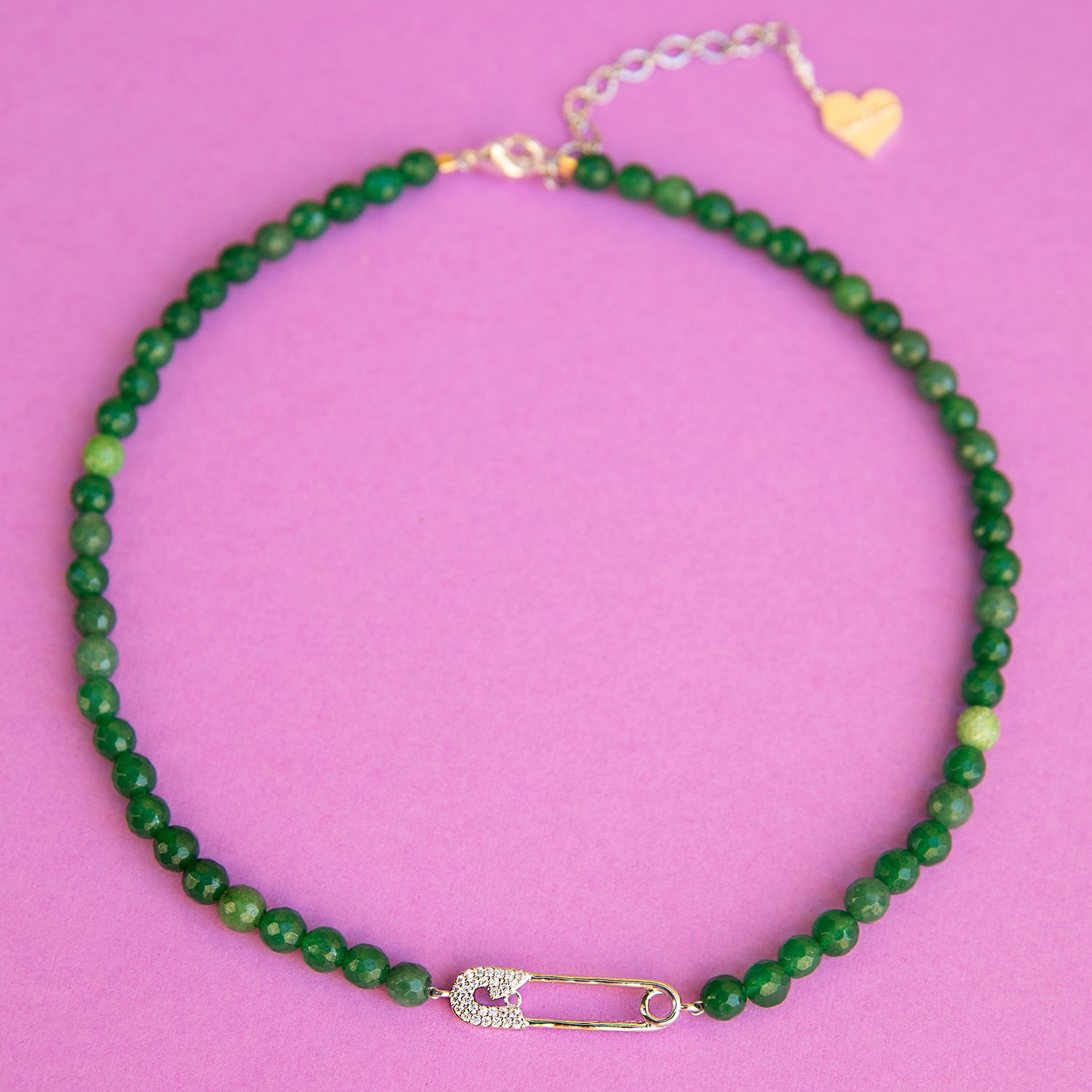 Image of Jade Safety Pin Necklace