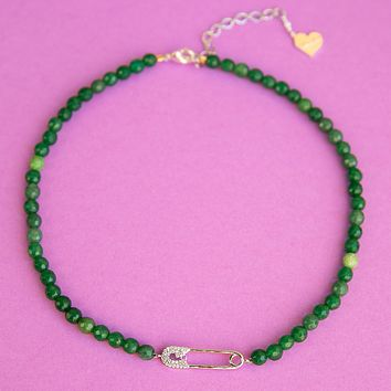 Jade Safety Pin Necklace