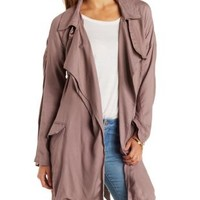 Cinnamon Draped Trench Coat by Charlotte Russe