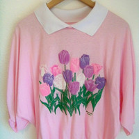 M 80s // 90s FLORAL Bunch Pastel Goth Collared by DaizyLemonade