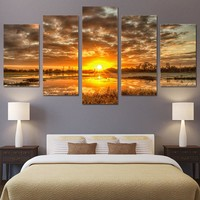 5 piece canvas art sunrise morning sun