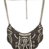 FOREVER 21 Embroidered Bib Necklace Silver/Black One