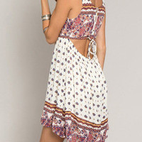 Multicolour Sleeveless Vintage Print High Low Dress