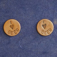 I love beer earrings, hand stamped copper studs