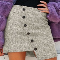 Simplee Asymmetrical Hem Button Front Tweed Skirt