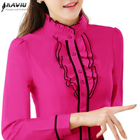 2015 autumn women long-sleeve shirt fashion elegant clothing slim solid color stand collar ruffles blouse plus size office tops