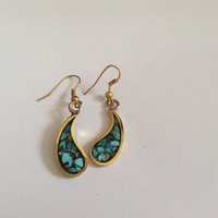Beautiful brass earring with turquoise stone work