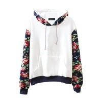 Mebarra Women Thick Warm Floral Printed Long Sleeve Hooded Pullover Sweatshirt (White)