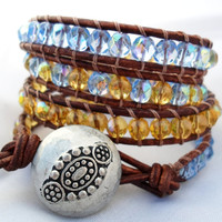Light Blue and Yellow Beaded Leather Wrap Bracelet