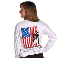 The Patriotic Puppy Long Sleeve Tee Shirt in White by the Fraternity Collection
